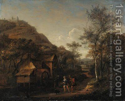 A wooded landscape with peasants on a path by a watermill, a hill beyond by Jan Steen - Reproduction Oil Painting
