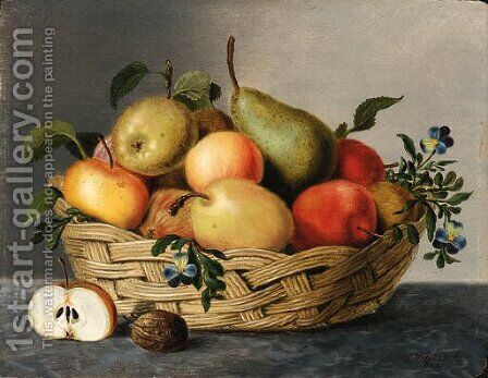 A basket of fruit by Jan Hendrik Aikes - Reproduction Oil Painting