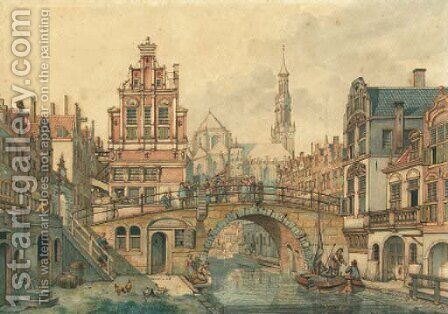 A capriccio view in Utrecht, with a smartlap performer on a bridge by Jan Hendrik Verheijen - Reproduction Oil Painting