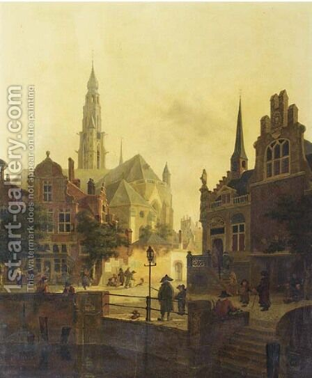 Figures by a canal in a town square by Jan Hendrik Verheyden - Reproduction Oil Painting