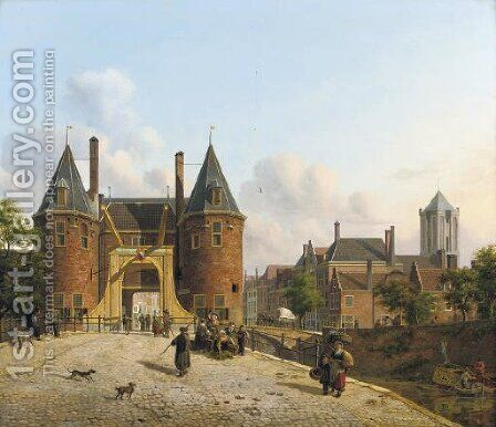View of the Weerdpoort in Utrecht with the St. Jacobskerk in the distance by Jan Hendrik Verheyen - Reproduction Oil Painting