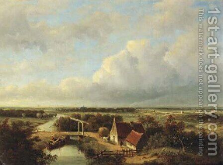 A panoramic view of the outskirts of Haarlem, with a steam train in the distance by Jan Hendrik Willem Hoedt - Reproduction Oil Painting