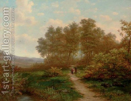 A sportsman conversing on a sunlit path by Jan Hermanus Melcher Tilmes - Reproduction Oil Painting