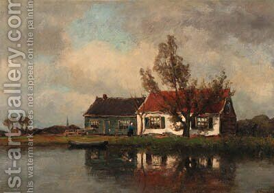 A farm along a river by Jan Hillebrand Wijsmuller - Reproduction Oil Painting