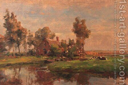 A sunlit farmyard along a canal by Jan Hillebrand Wijsmuller - Reproduction Oil Painting
