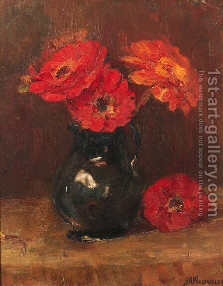 Flowers in a vase by Jan Hillebrand Wijsmuller - Reproduction Oil Painting