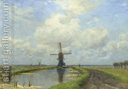 Windmills in a polder landscape by Jan Hillebrand Wijsmuller - Reproduction Oil Painting