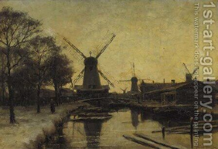 Windmills in winter by Jan Hillebrand Wijsmuller - Reproduction Oil Painting