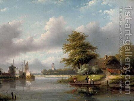 A river crossing in summer by Jan Jacob Coenraad Spohler - Reproduction Oil Painting