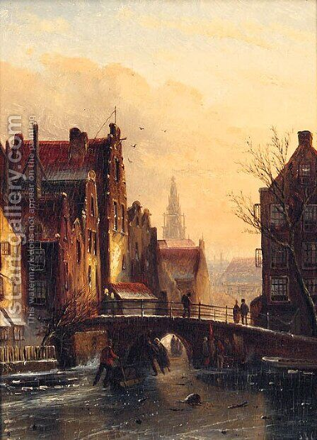 View On The Grimburg Wall, Amsterdam by Jan Jacob Coenraad Spohler - Reproduction Oil Painting