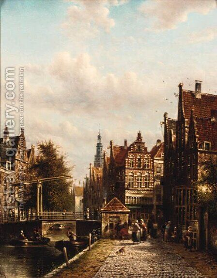 A Dutch town on a canal by Jan Jacob Spohler - Reproduction Oil Painting