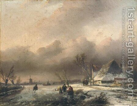 A Dutch winter landscape with villagers on the ice by Jan Jacob Spohler - Reproduction Oil Painting