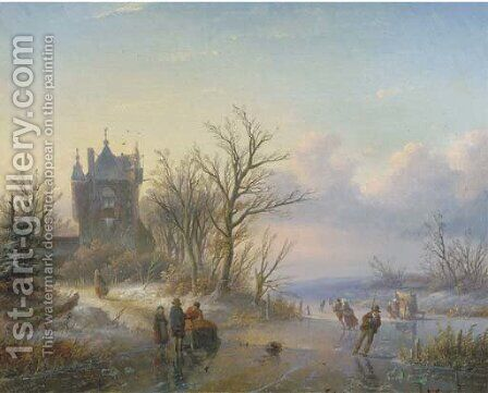 A sunny winter's day with skaters by a castle by Jan Jacob Spohler - Reproduction Oil Painting