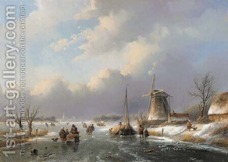 A winter landscape by Jan Jacob Spohler - Reproduction Oil Painting