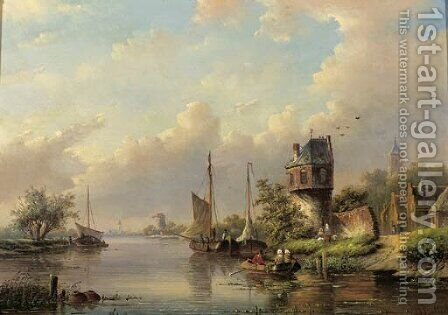Sailing vessels on a river in summer by Jan Jacob Spohler - Reproduction Oil Painting