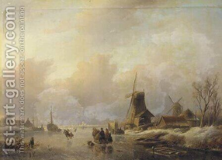 Skaters by a koek en zopie on a frozen waterway by Jan Jacob Spohler - Reproduction Oil Painting