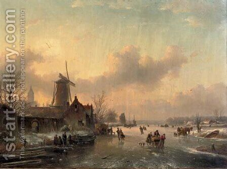 Winterfun numerous skaters on a frozen waterway by Jan Jacob Spohler - Reproduction Oil Painting