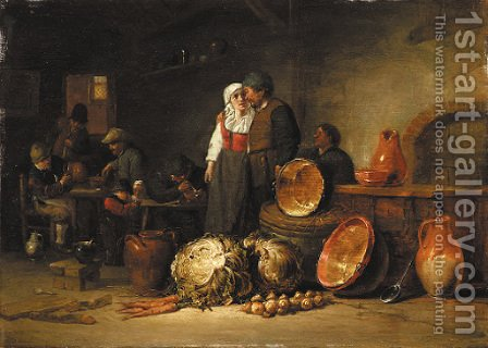 A couple standing by pots and pans in a stable, boors smoking and drinking at tables beyond by Jan Jansz. Van Buesem - Reproduction Oil Painting