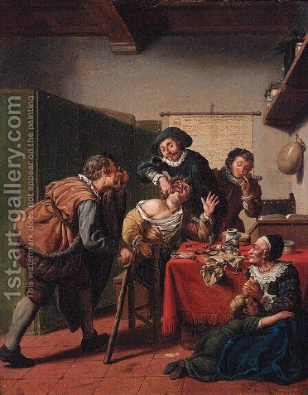 A dentist's surgery by Jan Josef, the Elder Horemans - Reproduction Oil Painting