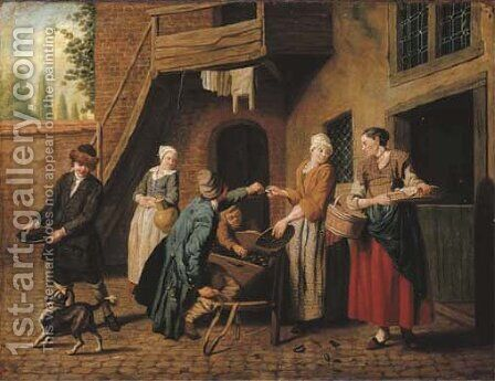 A courtyard in a town with a mussel seller and other figures by Jan Jozef, the Younger Horemans - Reproduction Oil Painting