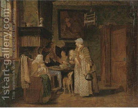 A family at a table in an interior by Jan Jozef, the Younger Horemans - Reproduction Oil Painting