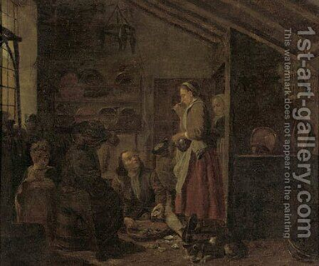 A gentleman eating oysters in a kitchen by Jan Jozef, the Younger Horemans - Reproduction Oil Painting