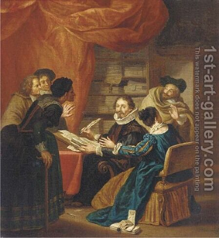 The lawyer's office by Jan Jozef, the Younger Horemans - Reproduction Oil Painting