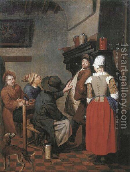 Company smoking and conversing in a kitchen by Jan Jozef, the Younger Horemans - Reproduction Oil Painting