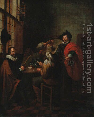 A dispute at cards by Jan Jozef, the Younger Horemans - Reproduction Oil Painting