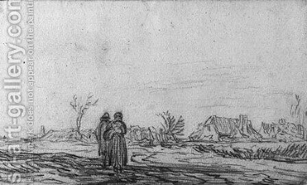 A couple approaching a village by Jan van Goyen - Reproduction Oil Painting