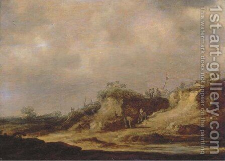 A dune landscape with herdsman tending their cattle by Jan van Goyen - Reproduction Oil Painting