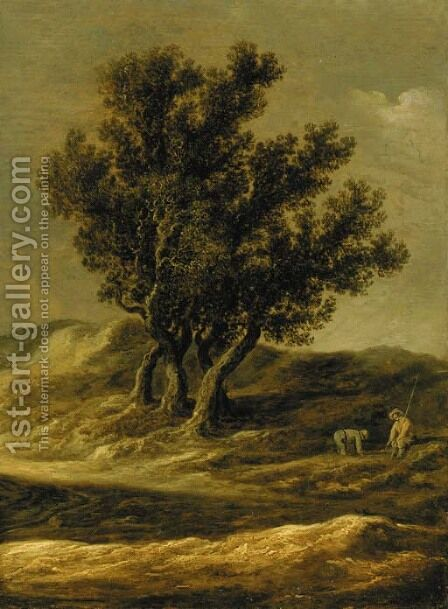 A dune landscape with peasants by a track by Jan van Goyen - Reproduction Oil Painting