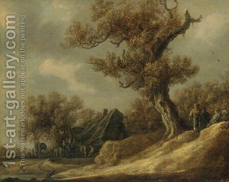 A dune landscape with peasants talking under a tree, an inn with travellers beyond by Jan van Goyen - Reproduction Oil Painting