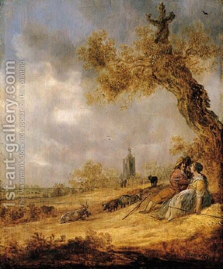 A landscape with a shepherd and shepherdess, a church beyond by Jan van Goyen - Reproduction Oil Painting