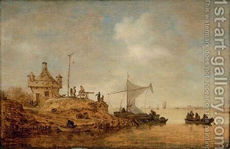 A river landscape with a ferry crossing and peasants by a cannon by Jan van Goyen - Reproduction Oil Painting