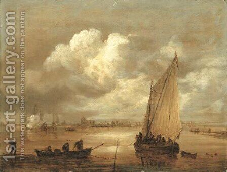 A river landscape with fishermen drawing in their nets, a town beyond by Jan van Goyen - Reproduction Oil Painting