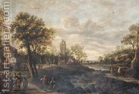 A river landscape with travellers approaching a village by Jan van Goyen - Reproduction Oil Painting