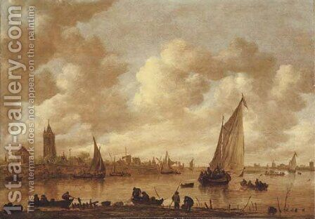 A view of Gorinchem with shipping on the Rhine in the foreground by Jan van Goyen - Reproduction Oil Painting