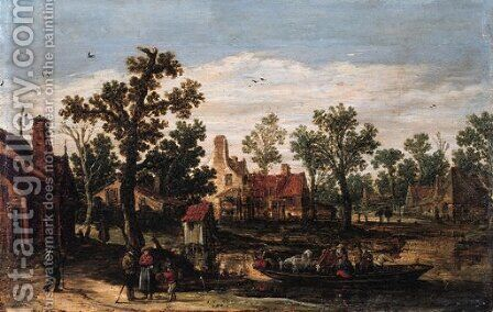 A village by a river with peasants and cattle on a ferry setting out from a landing stage, in summer by Jan van Goyen - Reproduction Oil Painting