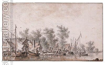 A Village Harbour along a River by Jan van Goyen - Reproduction Oil Painting