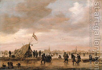 A winter landscape with villagers on a frozen waterway by Jan van Goyen - Reproduction Oil Painting