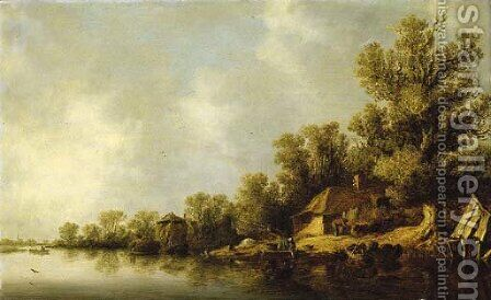 A wooded river landscape with fisherfolk and peasants by a cottage by Jan van Goyen - Reproduction Oil Painting