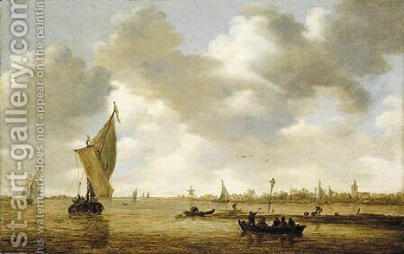 An estuary with passengers in a ferry, a kaag and other shipping by a mudflat, a village beyond by Jan van Goyen - Reproduction Oil Painting