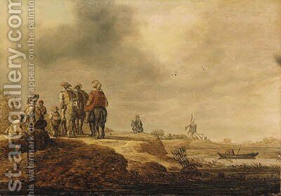 Cavalrymen halted on a riverbank, a windmill beyond by Jan van Goyen - Reproduction Oil Painting