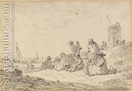 Figures seated among dunes, a tower to the right, ships drawn up on the beach beyond by Jan van Goyen - Reproduction Oil Painting