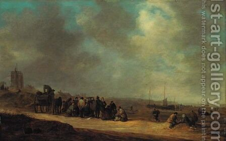 Fisherfolk on the beach at Scheveningen by Jan van Goyen - Reproduction Oil Painting