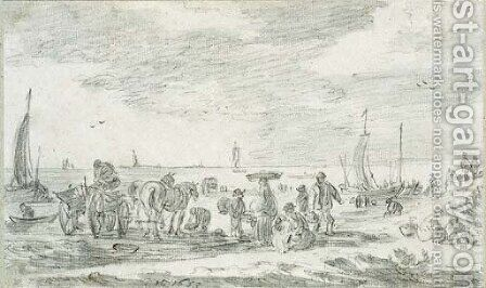 Fishermen on the beach at Scheveningen by Jan van Goyen - Reproduction Oil Painting
