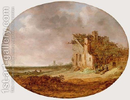 Le Pigeonnier An extensive landscape with peasants sitting on a bank by a dilapidated cottage by Jan van Goyen - Reproduction Oil Painting