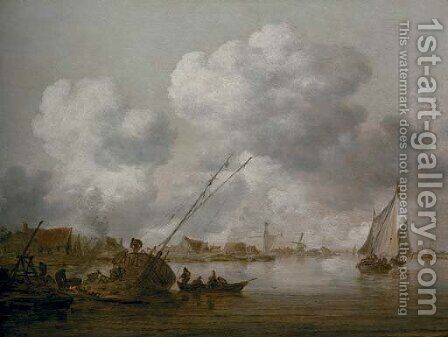 An estuary with a small schip being caulked in the foreground by Jan van Goyen - Reproduction Oil Painting