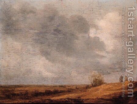 Peasants in an extensive landscape by Jan van Goyen - Reproduction Oil Painting